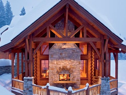 Precision Craft Log Homes Log Home with Exposed Basement