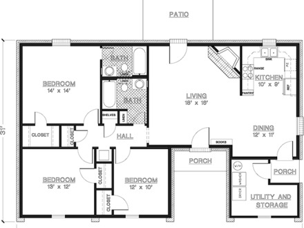 Ranch Style House Plans 1200 Sq FT Open Floor Plan With 1200 Sq Ft House Floor Plans