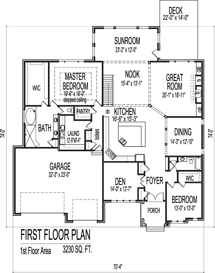 Single story house plans with 3 car garage single story for 3 bedroom 2 bath 2 car garage floor plans