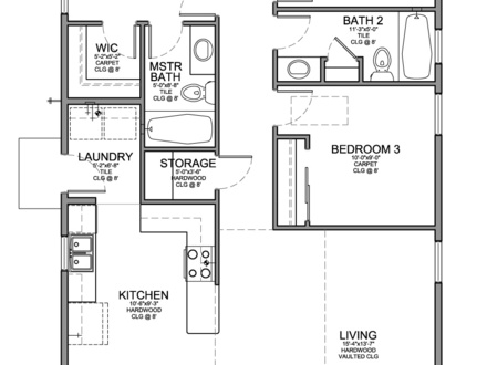 Small 3 Bedroom House Floor Plans 3 Bedroom House with Garage