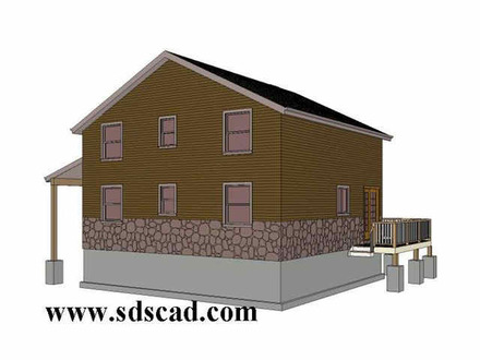 2 Story 20 X 20 Cabin Plan with Garage 12 X 20 Bolts