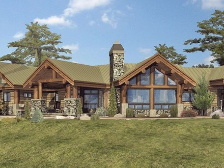 Log cabin home with wrap around porch big log cabin homes for 2 story log cabin house plans