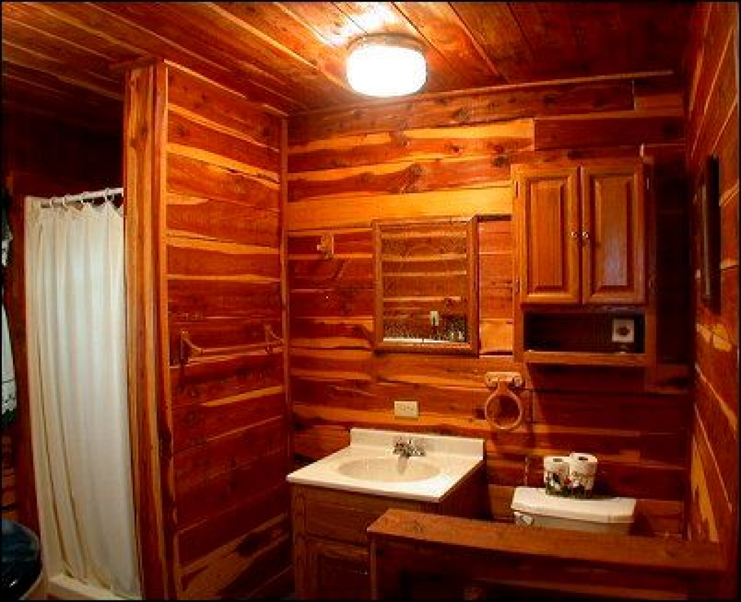 Bathroom wall bathroom wallpaper cabin cabin bathroom - Interior pictures of small log cabins ...
