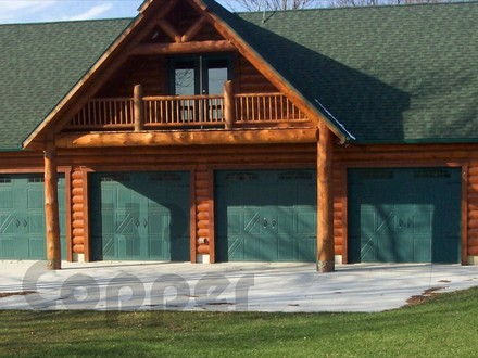 Cabin Garages with Apartments Log Garage with Copper