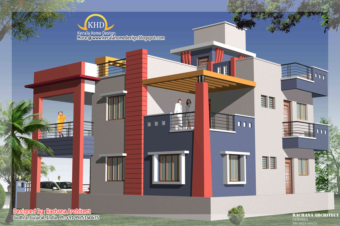 Modern duplex house plans duplex house elevation houses for Plan duplex moderne