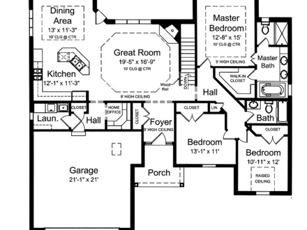 One Level House Plans with Open Floor Plan One Level House Plan