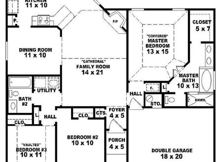 One Story 3 Bedroom 2 Bath House Plans 3 Bedroom House Plans