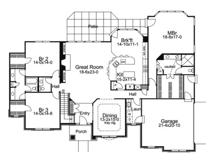 One Story Ranch House Floor Plans Simple One Story Houses
