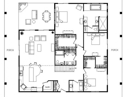 Single Story Farmhouse with Wrap around Porch Single Story 2200 Sq Ft House Plans