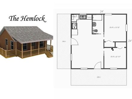 Small Cabin Plans 24X24 24X24 2 Story House Plans 3D