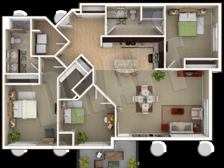 Square Single Level House Floor Plan Level Small Houses
