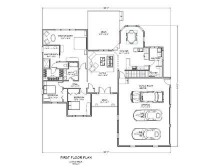 Three Bedroom Two Bath Ranch 3 Bedroom Ranch House Plans