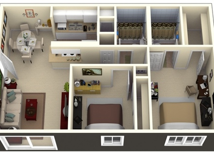 Two-Room House 2 Bedroom Apartment Design Plans