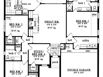 Cottage 2 bedroom homes 2 bedroom bungalow floor plan for Four bedroom cottage house plans