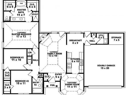 3 Bedroom Single Story House Plan Twin Size Bedroom