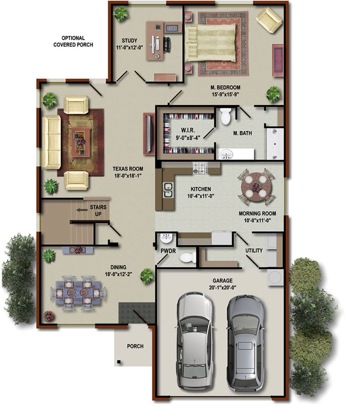 3D House Floor Plans 4 Bedroom House Floor Plans