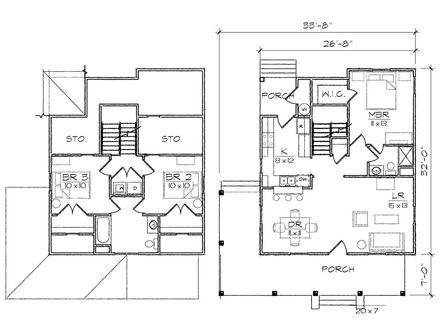 2 bedroom bungalows with dormer house plans 2 bedroom flat for Robinson house plans