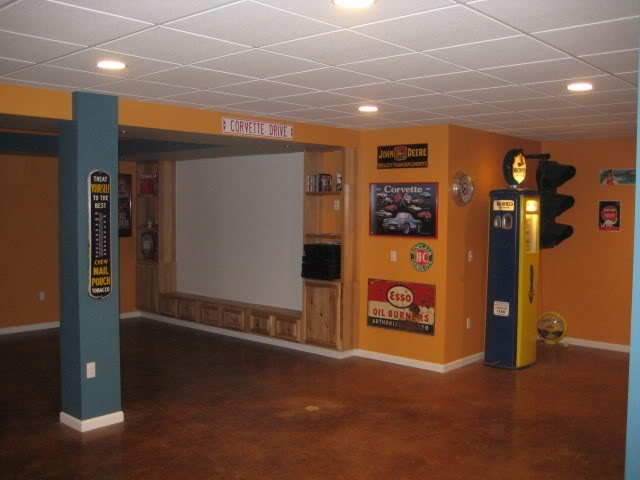 Concrete basement floor ideas cheap paint cement basement for Affordable basement flooring