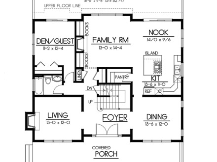Bungalow home plans craftsman cottage floor plans floor for Craftsman style homes open floor plans