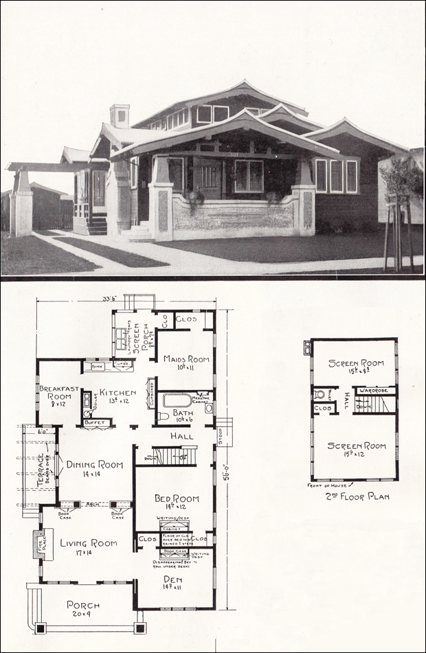 105 bungalow floor plans historic craftsman bungalow for Old bungalow house plans