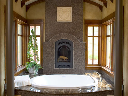 Master Bathroom with Fireplace and Spa Master Bathroom Designs with Fireplace