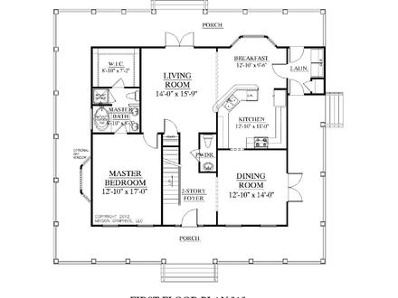 Master Bedroom Two-Story Deck 3 Bedroom Two Story House Plans
