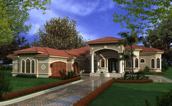 One story luxury mansions luxury one story mediterranean for Luxury lake house plans