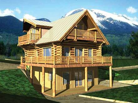 Story Log Home Plans Log Cabin Homes Floor Plans