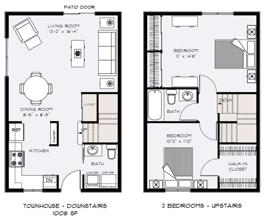 2 Bedroom Townhouse Floor Plans Small Townhouse Floor