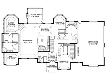2 Floor House Plans One Story Open Floor House Plans