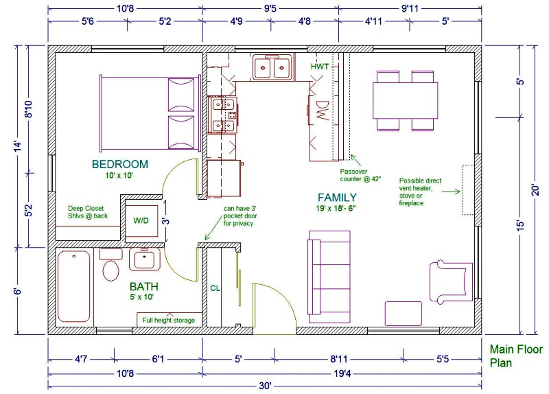 20X30 House Floor Plans Studio Apartment Floor Plans 20X30