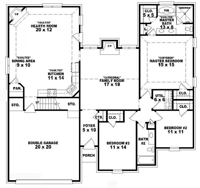 Smallest 3 Bedroom House Plan Floor Plans Home Designer: 3 -Story Small Tower Plans House Floor Plans 3 Bedroom 2