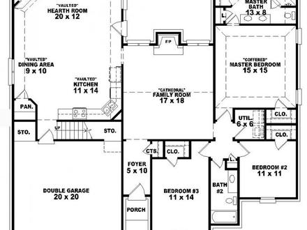 3 bedroom house floor plans 3 bedroom section 8 houses 5 for House plans with tower room