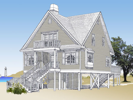 The beach duplex gmf architects house plans gmf model for Elevated house plans on pilings