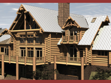 Log cabin doors log cabin homes floor plans custom log for Hillside cabin plans
