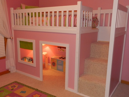 Loft Bed with Playhouse Underneath Girl's Playhouse Loft Bed