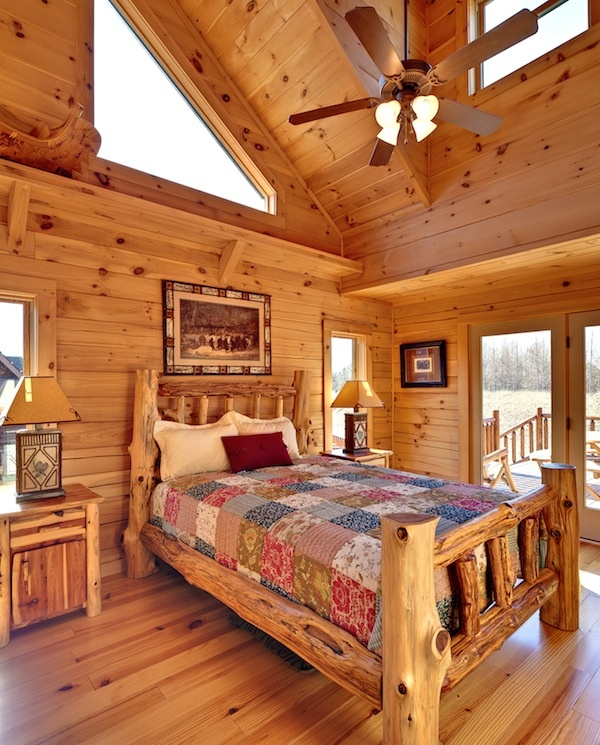 Small Home House Plans: Log Cabin Interior Design Bedroom Small Log Cabin