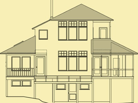 Mission Revival Style Architecture Houses Front Elevation House Plan Rear Elevation