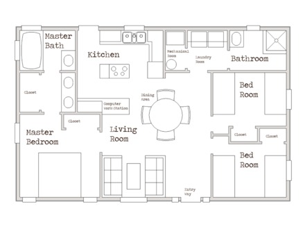 Simple Small House Floor Plans Small House Plans Under 1000 Sq FT