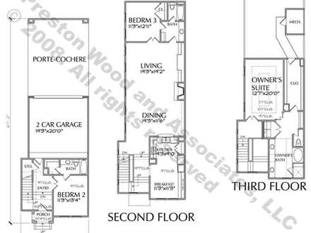 Three-Story Modern Townhouse Three Story Townhouse Floor Plans