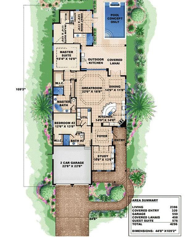 Very narrow lot house plans plan w66295we narrow lot for Coastal living house plans for narrow lots