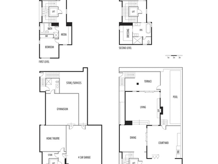 Waterfront house with narrow lot floor plan waterfront for Narrow lot 4 bedroom house plans