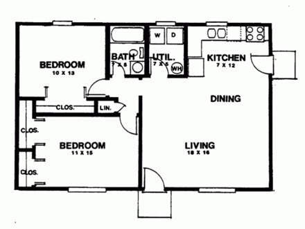 2 Bedroom Ranch House Floor Plans Standard Ranch House