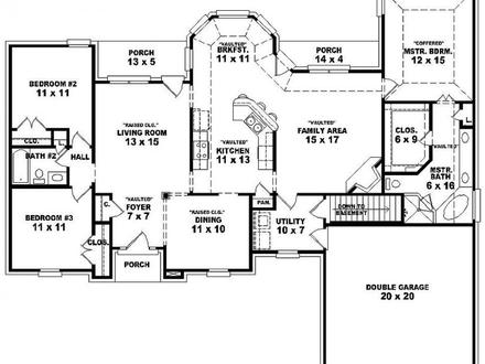 3 Bedroom Single Story House Floor Plans Double Bedroom
