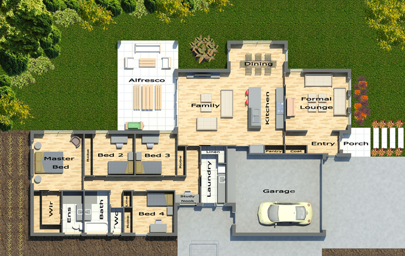 3D House Drawings Plans 3-Dimensional House Plans, House