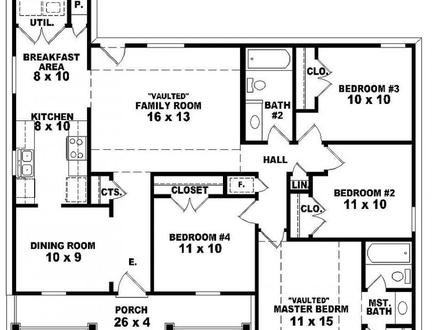 4 Bedroom 2 Story House Floor Plans Master Bedroom Two-Story Deck