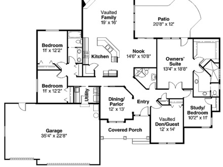 4 Bedroom Bungalow Floor Plan Affordable 4 Bedroom House Plans