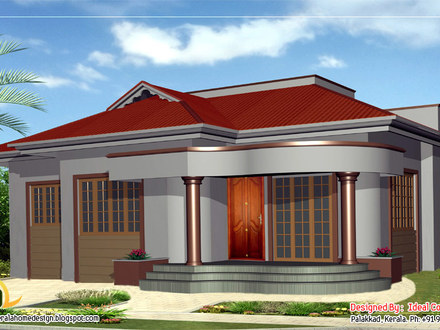 Bungalow home kerala style single storey house design for Beautiful single story homes