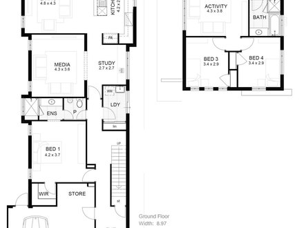 Narrow lot house floor plans narrow lot designs narrow for Shallow lot ranch house plans