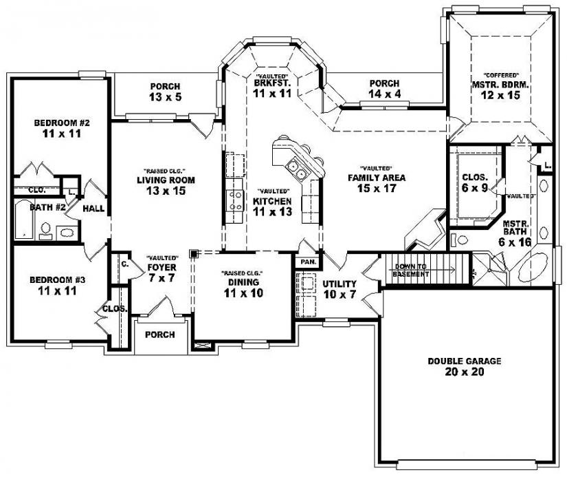 Double bedroom 3 bedroom single story house floor plans for 1 story 3 bedroom 2 bath floor plans